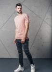 Изображение Футболка мужская со строчкой посредине розовая MFStore