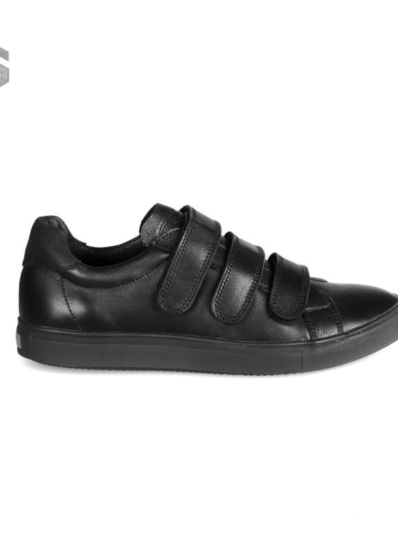 Изображение Слипоны мужские кожаные на липучках черные Shoes