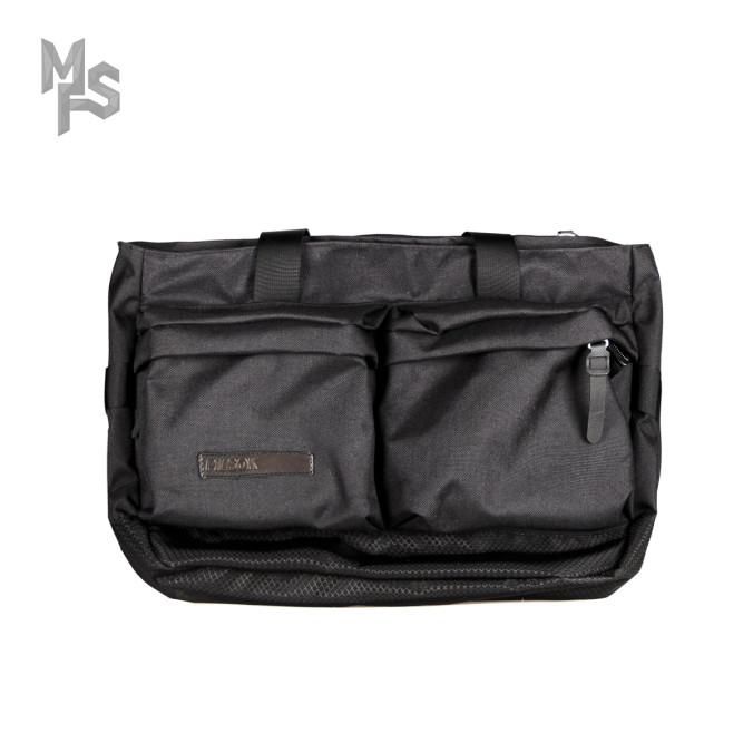 Изображение Сумка большая с двумя накладными карманами ромб/текстиль черная Pilsok