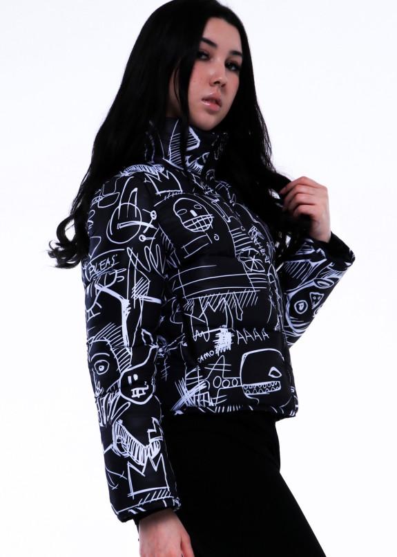 Изображение Куртка женская короткая черная с белым принтом INSHA