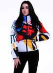 Изображение Куртка женская короткая с принтом белая INSHA