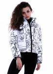 Изображение Куртка женская короткая белая с черным принтом INSHA