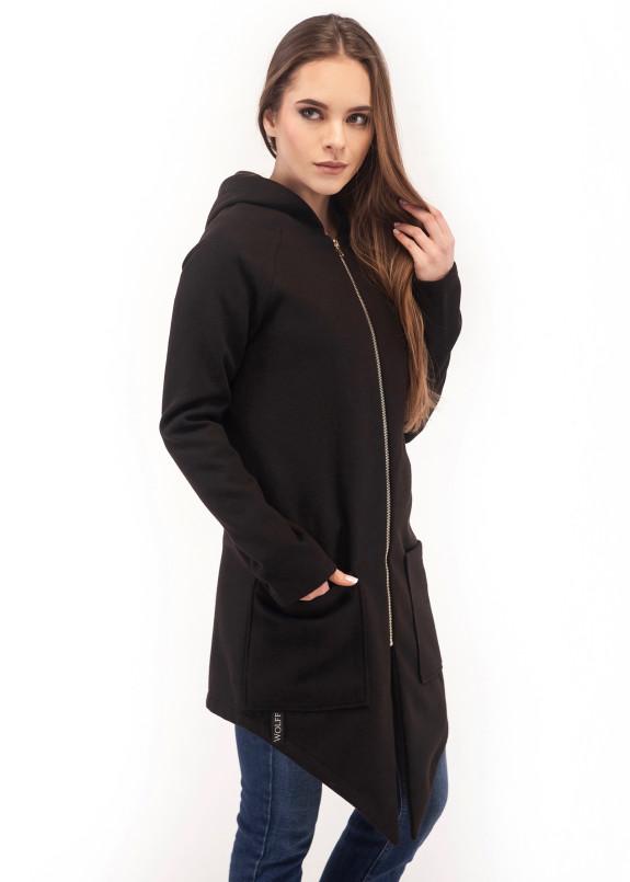 Изображение Пальто женское с капюшоном черное Wolff