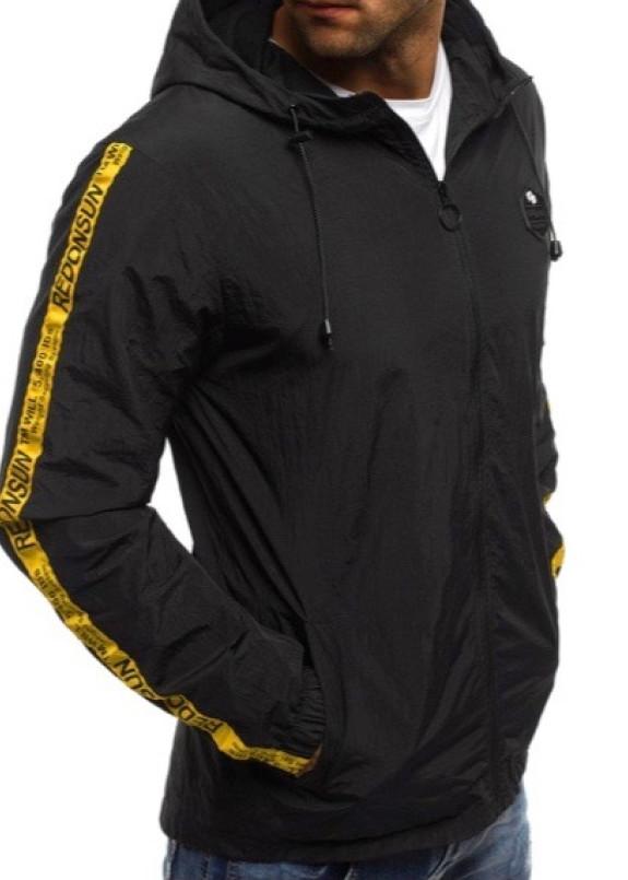 Изображение Ветровка мужская с лампасами черная MFStore