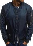 Изображение Бомбер мужской со сборкой на рукавах синий MFStore