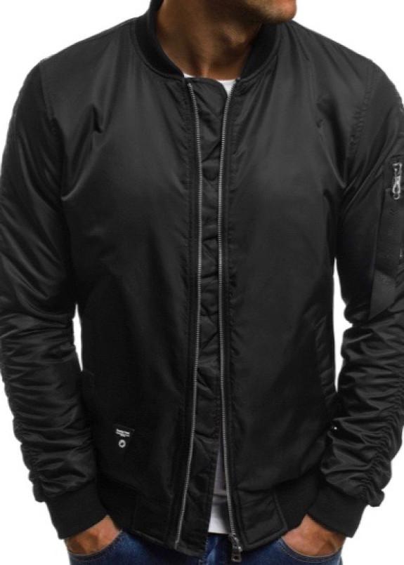 Изображение Бомбер мужской со сборкой на рукавах черный MFStore