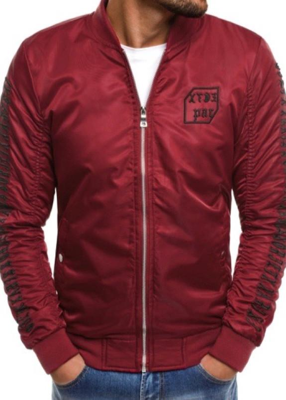 Изображение Бомбер мужской с вышивкой бордовый MFStore