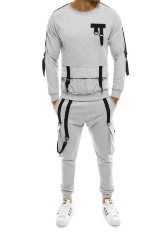 Изображение Костюм спортивный с подтяжками светло-серый MFStore