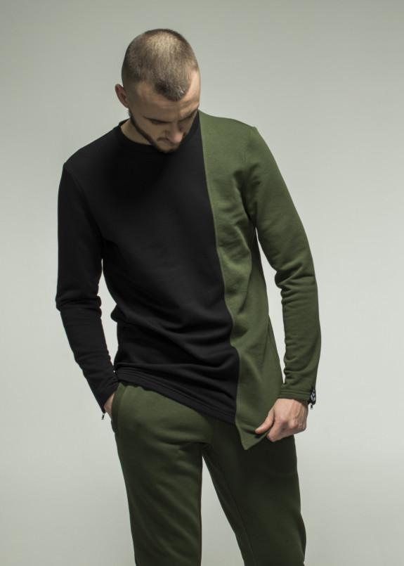 Изображение Лонгслив мужской черно-зеленый Somatonic