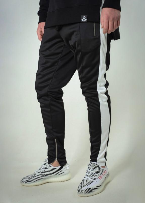 Изображение Штаны мужские с лампасами черные с белым T-Stripe Somatonic