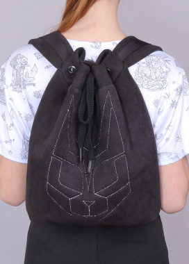 Изображение Рюкзак из эко-замши с тиснением черный Кот Roussin