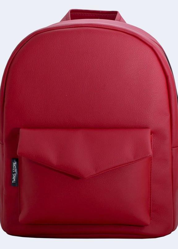 Изображение Рюкзак женский с накладным карманом красный Twins Store