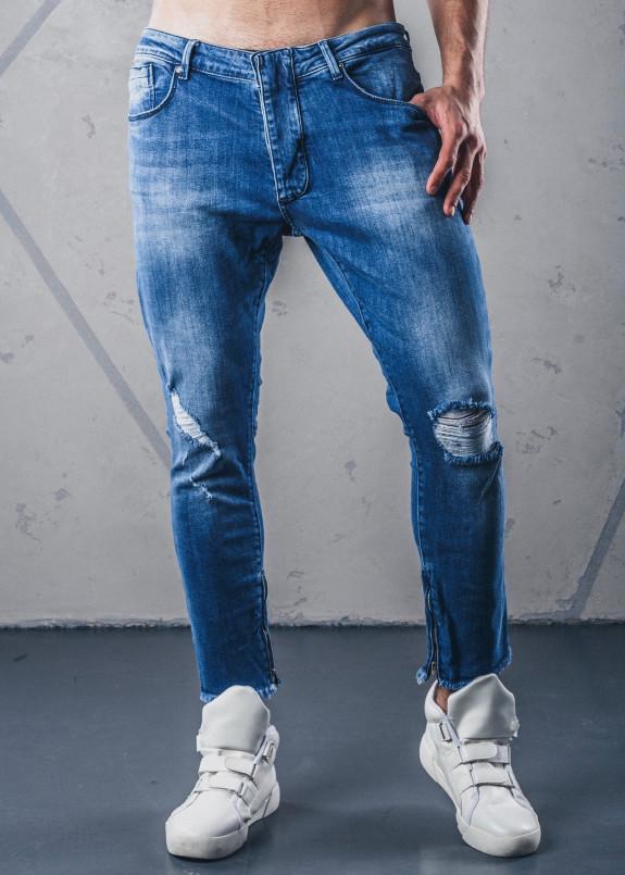 Изображение Джинсы с дырками и молниями голубые MFStore