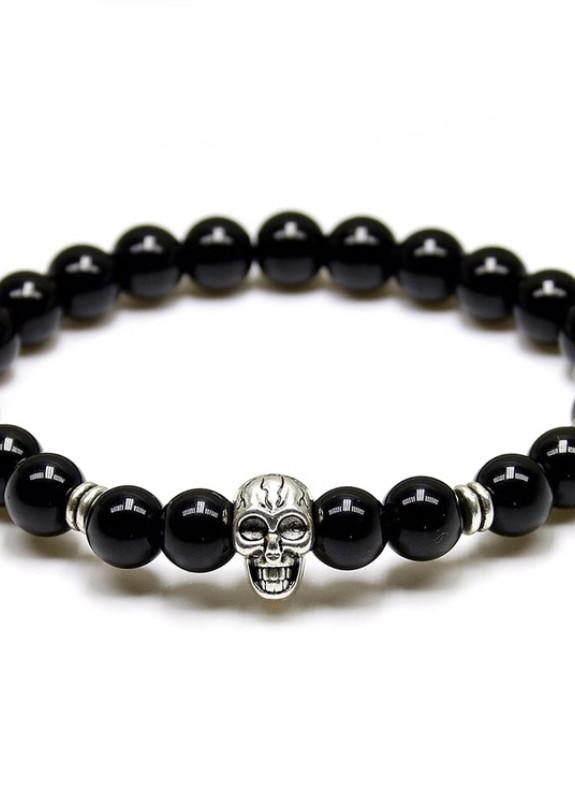 Изображение Браслет из натурального камня черный skull Fashion