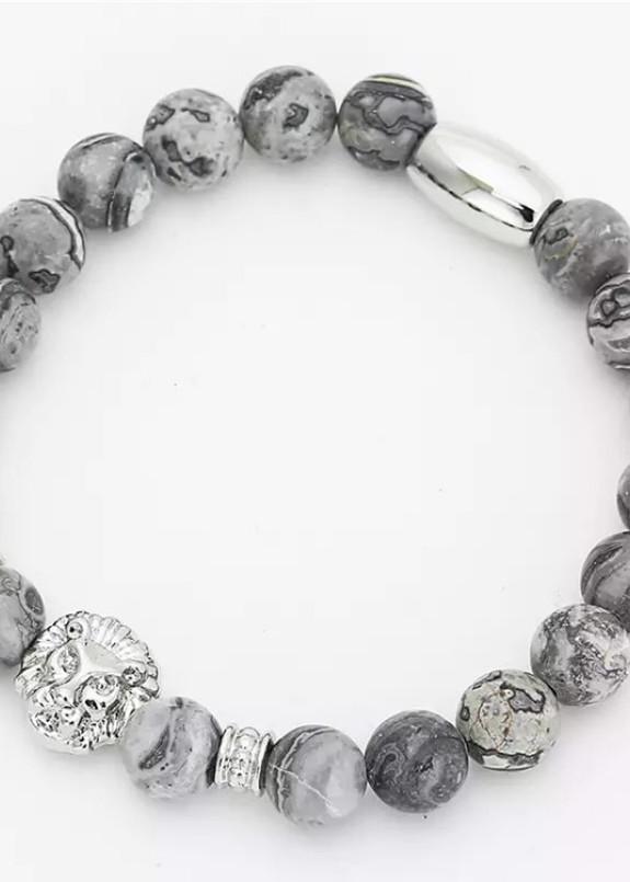Изображение Браслет из натурального камня серый Leo Fashion