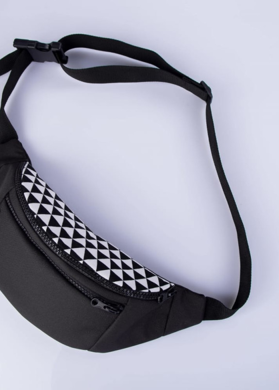 Изображение Бананка текстильная с принтом черная Треугольники Twins Store