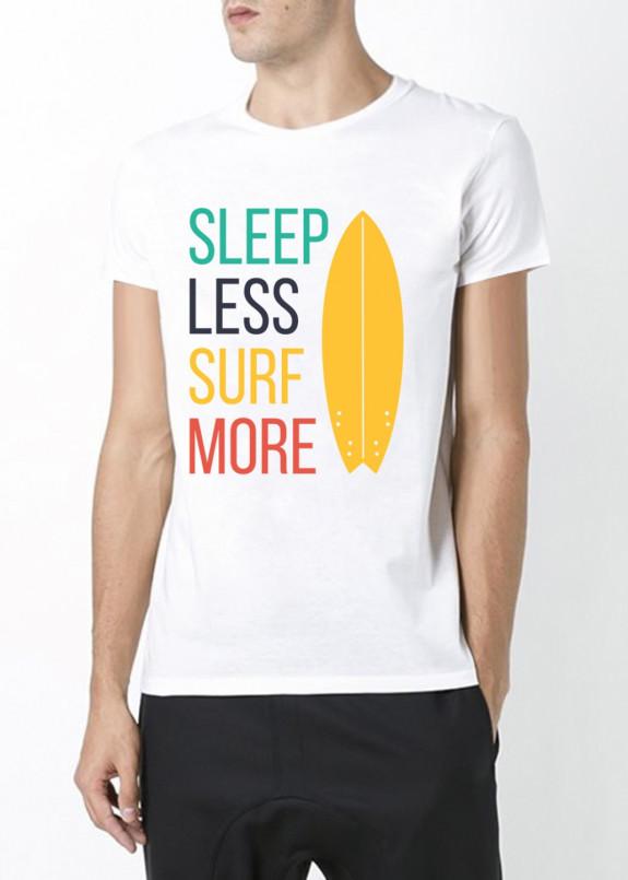 Изображение Футболка мужская белая Sleep less surf more YAPPI