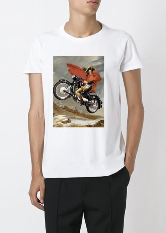 Изображение Футболка мужская белая motorcycle YAPPI
