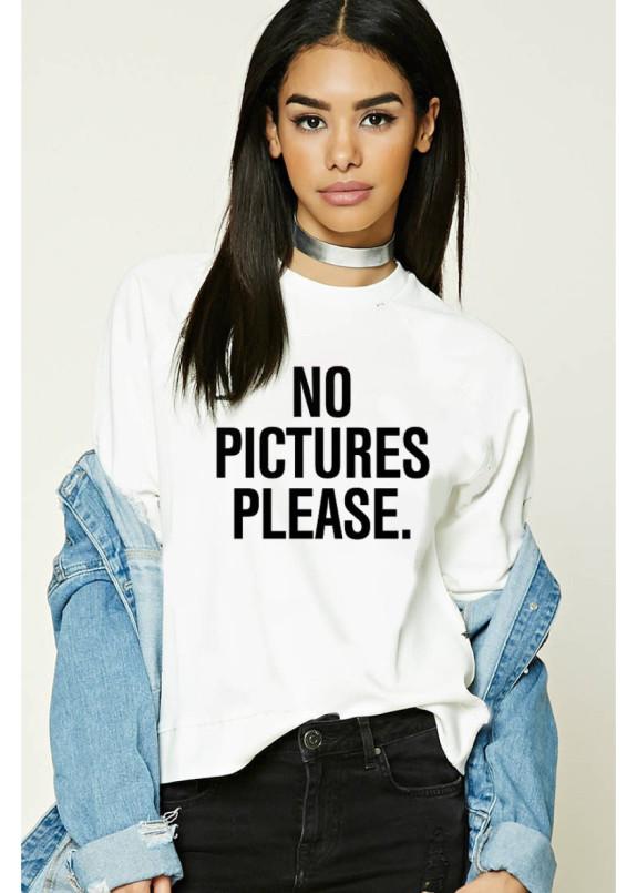 Изображение Свитшот женский белый No Pictures Please Yappi