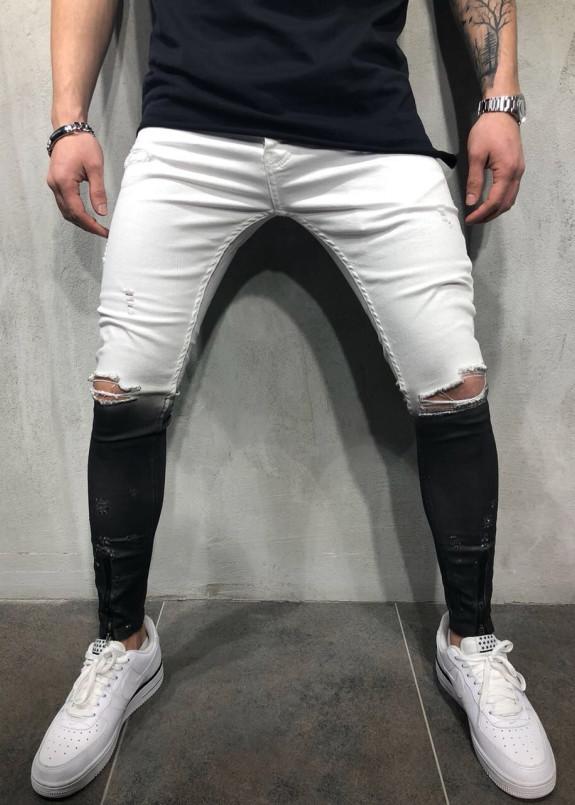 Изображение Джинсы мужские омбре белые с черным MFStore