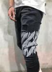Изображение Джинсы мужские с краской на колене черные MFStore