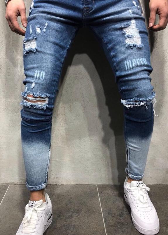 Изображение Джинсы мужские с дырками синие No Mercy MFStore