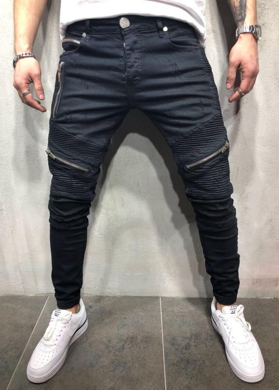 Изображение Джинсы мужские с рифлением и молниями черные MFStore