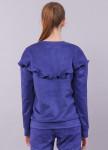 Изображение Свитшот женский замшевый c рюшами синий Roussin