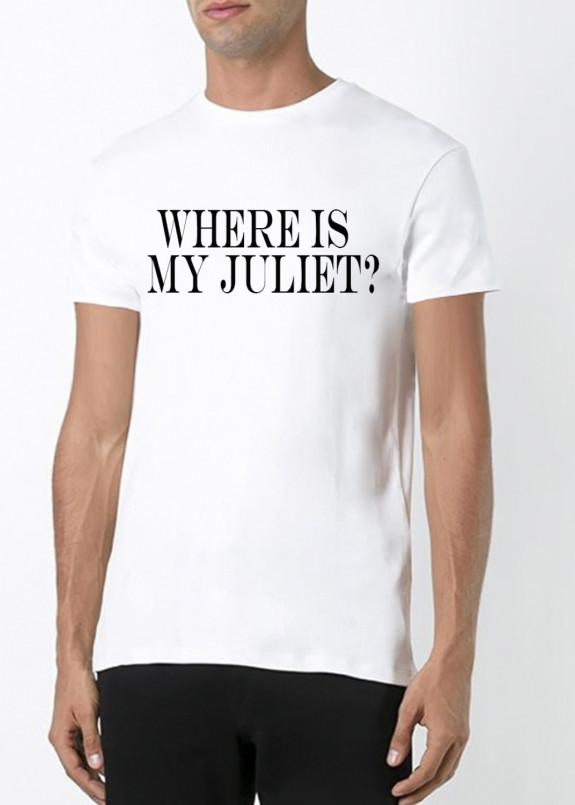 Изображение Футболка мужская белая Where is my Juliet YAPPI