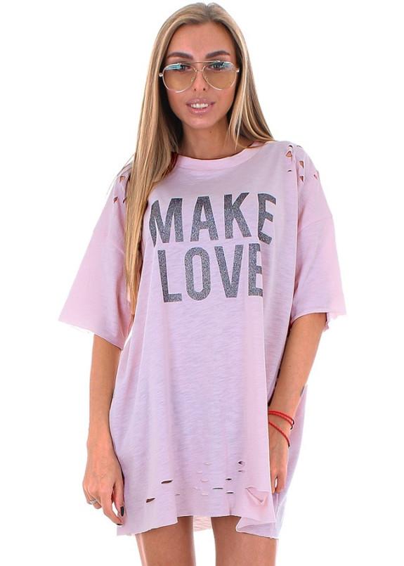 Изображение Футболка женская розовая MAKE LOVE Krutyakov