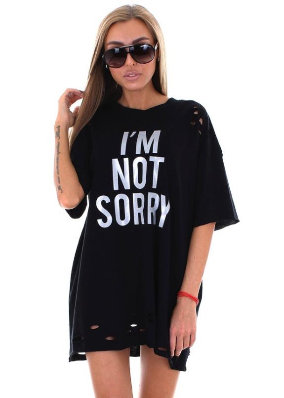 Изображение Футболка женская черная I''M NOT SORRY Krutyakov