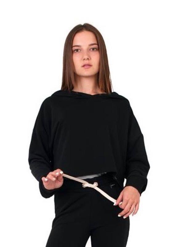Изображение Свитшот женский укороченный черный Leska Prod
