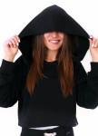 Изображение Худи женское укороченное с капюшоном черное Leska Prod