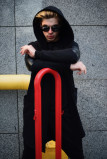 Изображение Мантия мужская со вставками эко-кожи черная Shi