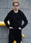Изображение Мантия мужская со вставками на спине черная Shi