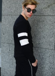 Изображение Свитшот мужской со вставками на рукаве черный Shi