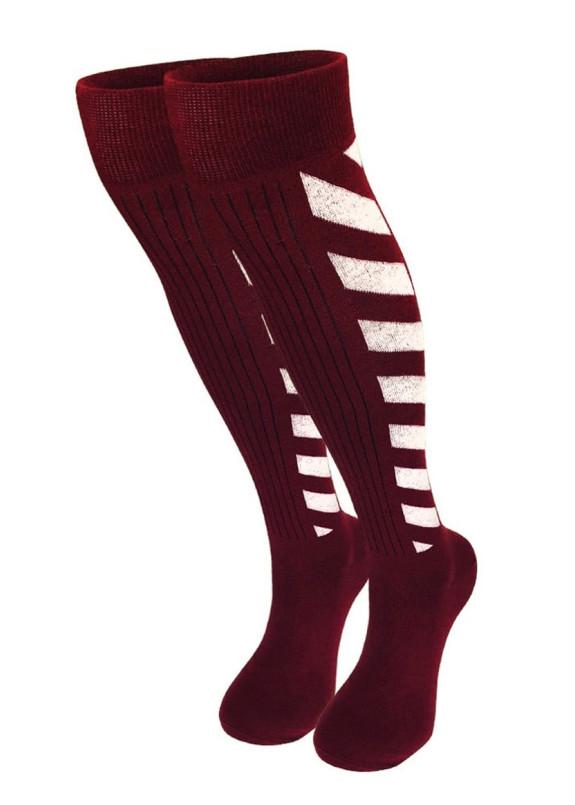 Изображение Гольфы женские с полосками бордовые МОКОКО SОСКS