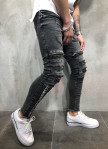 Изображение Джинсы мужские с разрезами и декоративными лентами серые MFStore
