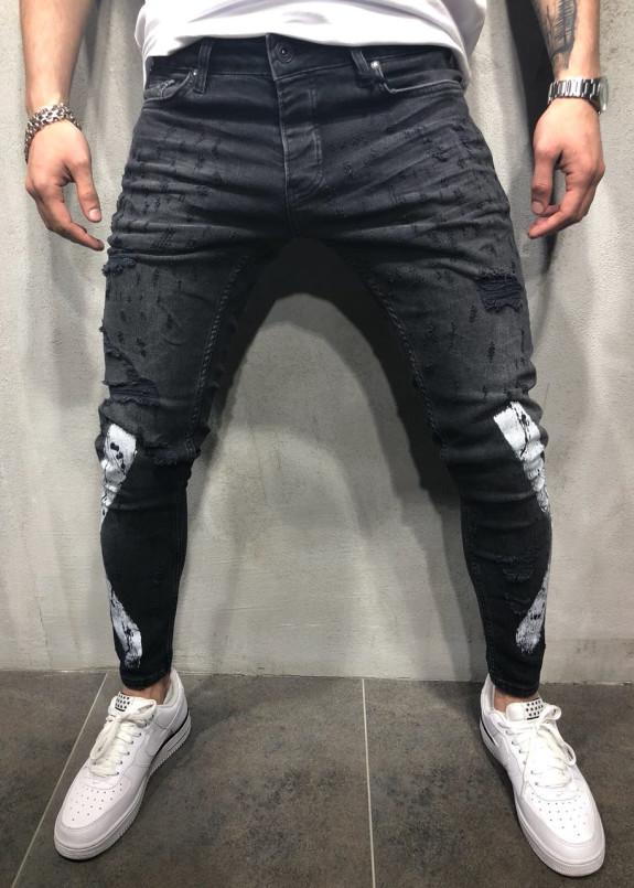 Изображение Джинсы мужские с дырками и краской черные MFStore