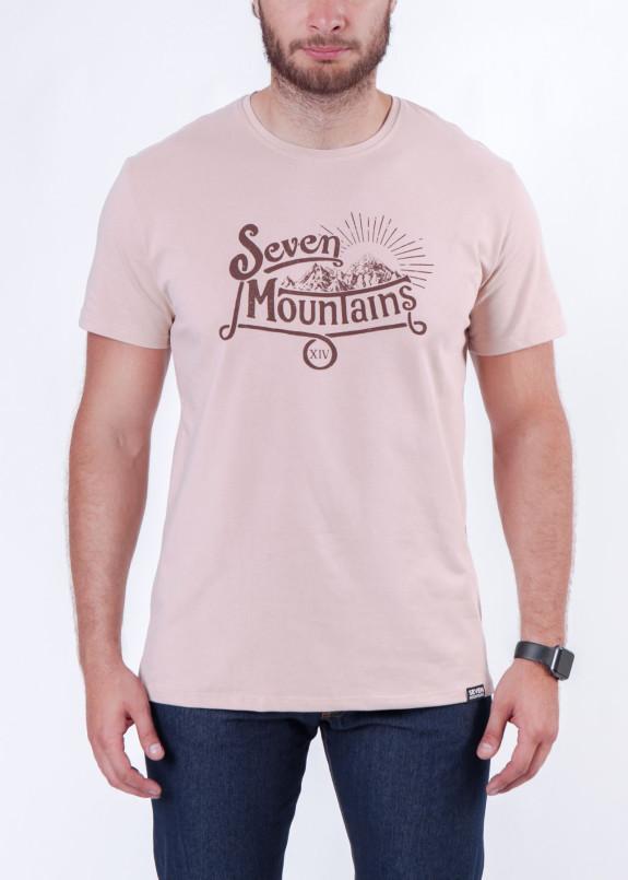 Изображение Футболка мужская розовая Vintage Seven Mountains