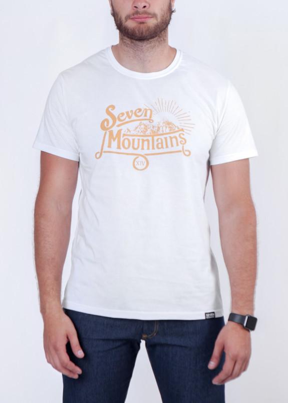Изображение Футболка мужская белая с желтым Vintage Seven Mountains