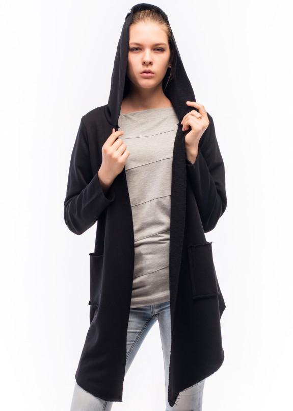 Изображение Мантия женская с накладными карманами черная Wolff