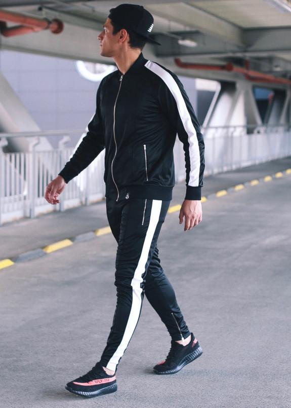 Изображение Спортивный костюм черный с белым T-Stripe Set Somatonic