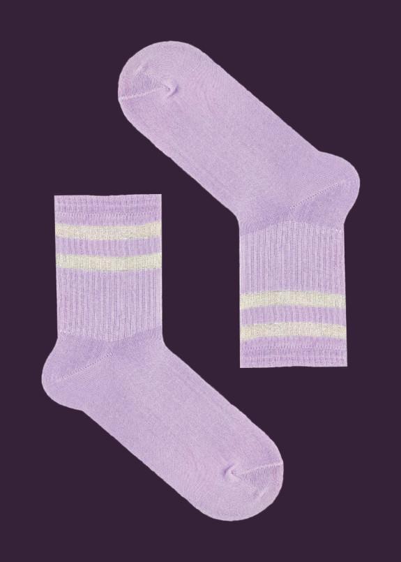Изображение Носки длинные с люрексовыми полосками сиреневые SOX