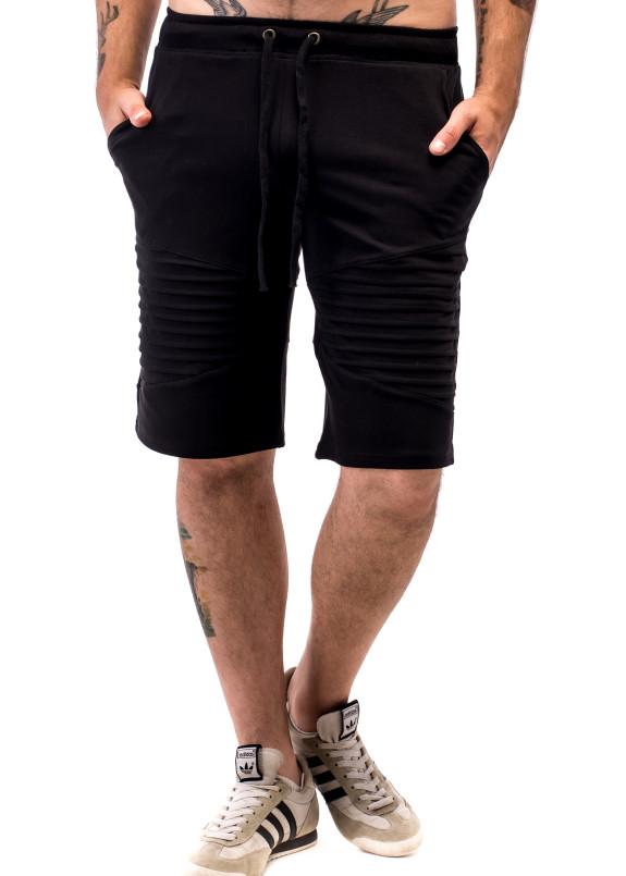 Изображение Шорты мужские с декоративными защипами черные ThePARA