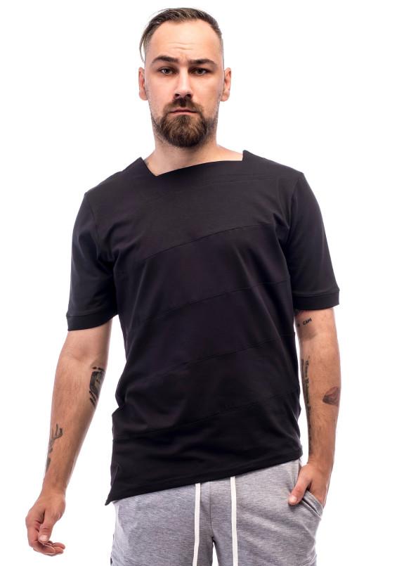Изображение Футболка мужская асимметричная черная ThePARA