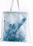 Изображение Рюкзак-мешок белый с синим Кит Leska Prod