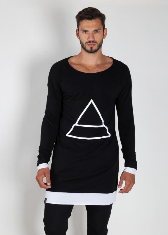Изображение Лонгслив двухцветный с принтом черный с белым Треугольник MFS BRAND