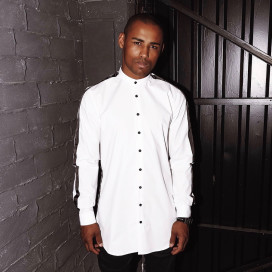 Изображение Рубашка мужская без воротника с лампасами белая Black Limit
