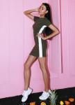 Изображение Платье с белой полоской хаки She Black Limit